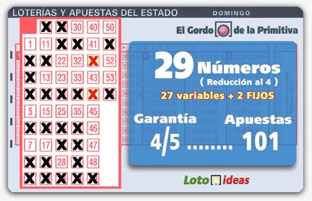 El Gordo de la Primitiva - Reducida de 29 números (2 fijos) al 4 por 101 apuestas