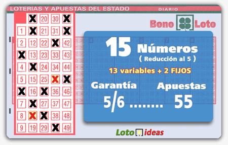 Bonoloto - 15 números (13 + 2 fijos) en reducción al 5 por 55 apuestas