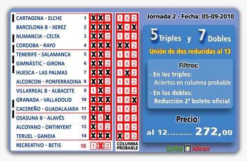 La Quiniela - Combinación reducida de 5 Triples y 7 Dobles por 544 apuestas