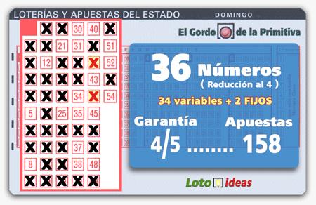 El Gordo de la Primitiva - 36 números (34 + 2 FIJOS) en reducción al 4 por 158 apuestas