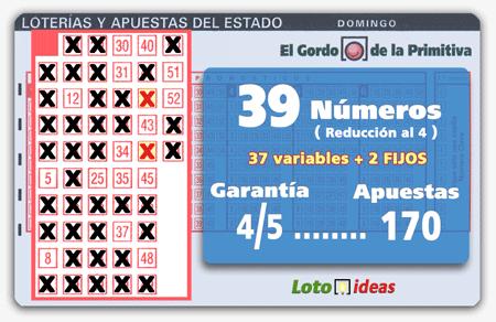 El Gordo de la Primitiva - 39 números (37 + 2 FIJOS) en reducción al 4 por 170 apuestas