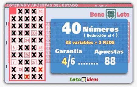 Bonoloto - 40 números (38 + 2 fijos) en reducción al 4 por 88 apuestas