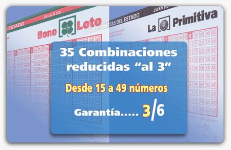 Recopilatario de 35 combinaciones reducidas al 3 para Primitiva o Bonoloto