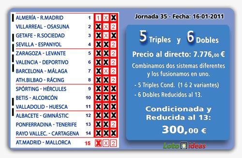 5 Triples y 6 Dobles al 13 por 300 euros