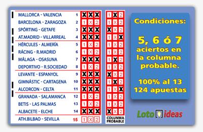 8 Triples reducidos al 13 y condicionados a 5, 6 ó 7 aciertos en columna probable