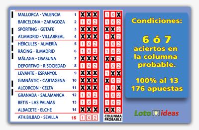 8 Triples reducidos al 13 y condicionados a 6 ó 7 aciertos en columna probable