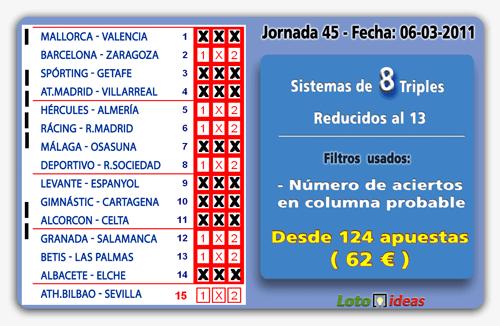 La Quiniela - Varios sistemas de 8 Triples reducidos al 13