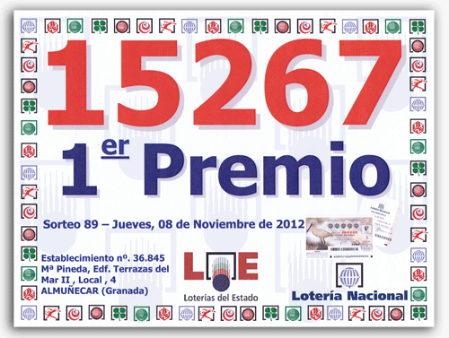Primer Premio de la Lotería Nacional - Jueves 08-11-2012