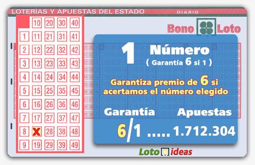 Sistema al directo de 1 número por 1.712.304 apuestas. Garantiza premio de 6 si se acierta el  número elegido